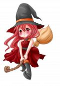 pic of chibi  - Cartoon illustration of a cute witch flying on her broom - JPG