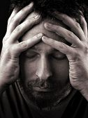 stock photo of sad man  - Closeup portrait of sad depressed and lonely man - JPG
