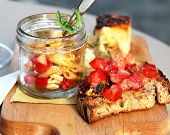 image of collate  - Italian food with penne pieces of pizza and bruschetta - JPG