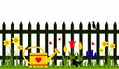 stock photo of bird fence  - vector picket fence with spring flowers and watering can isolated on white background - JPG