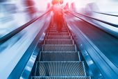 image of upstairs  - Step of escalator machine - JPG
