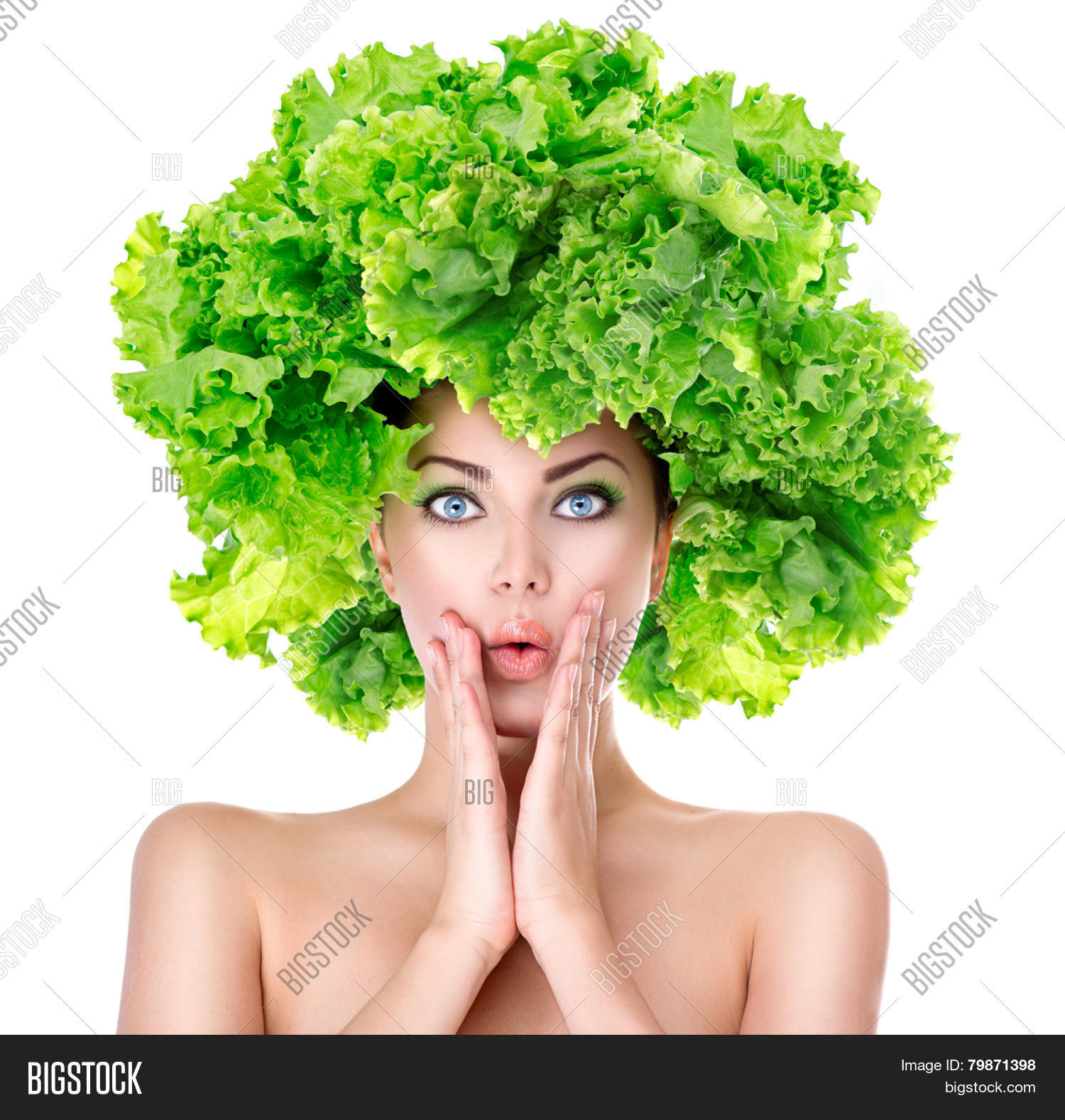 Surprised model girl with Lettuce hair style. Beautiful ...