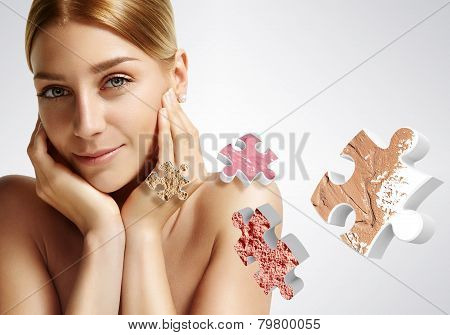 Beauty Woman Touching Her Face