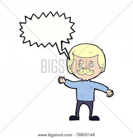 cartoon dad waving with speech bubble