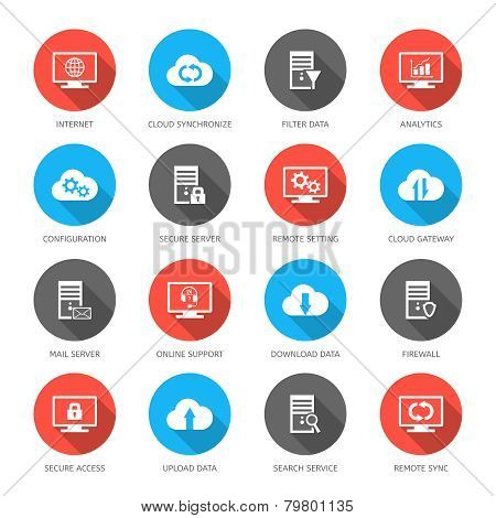 Hosting, server, database and cloud computing icons.