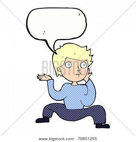 cartoon boy doing crazy dance with speech bubble