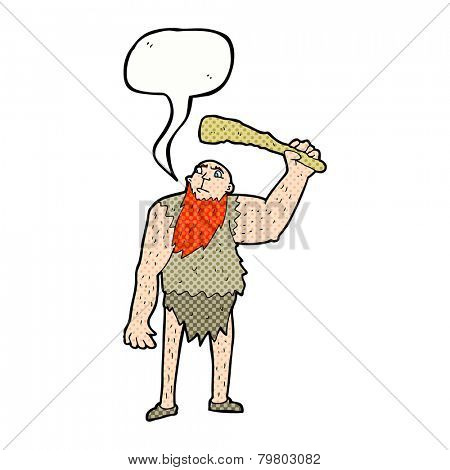 cartoon neanderthal with speech bubble