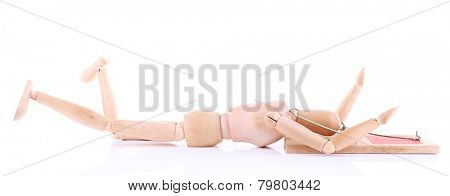 Mousetrap captured wooden mannequin, isolated on white background