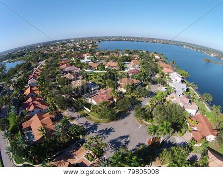 Suburban Homes In Florid Aerial View