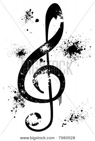 Abstract illustration of a grunge G clef