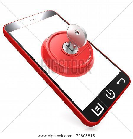 Red Key On Smartphone