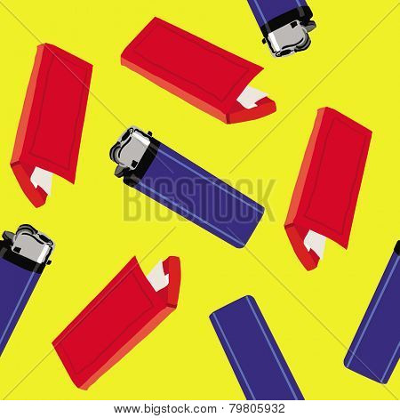 lighter and cigarette paper seamless pattern