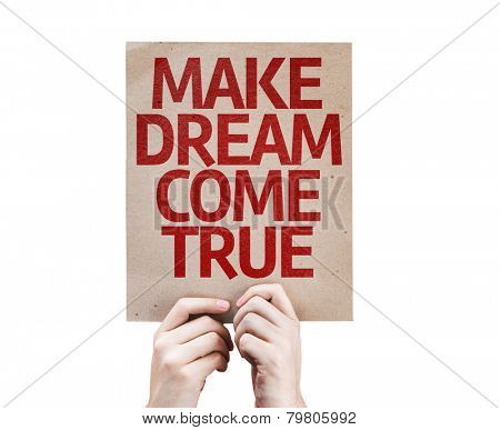 Make Dream Come True card isolated on white background