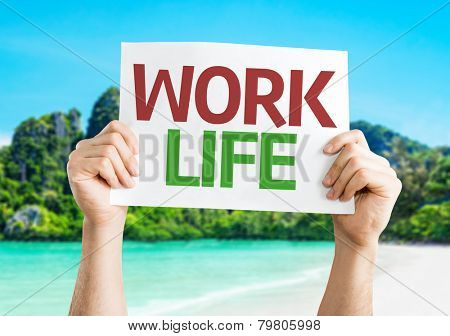 Work Life card with a beach on background