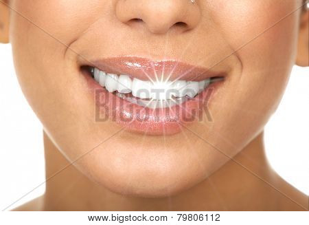Happy woman white shining teeth. Dental care.