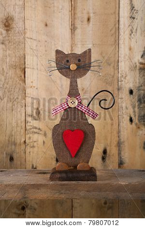 Valentines Love Wooden Cat Shape With Red Heart Decoration
