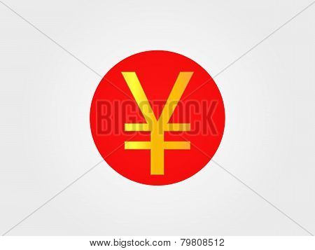 Yen Currency Sign On The Center Of The Japanese Flag