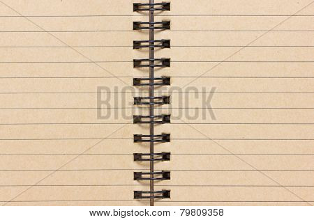 Close Up Of Blank Lined Notebook.