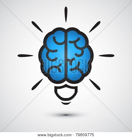 Brain Light bulb icon. Idea