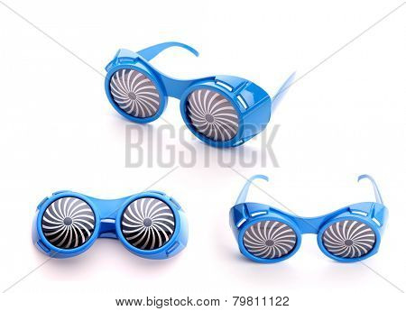 Three pair of blue glasses for party