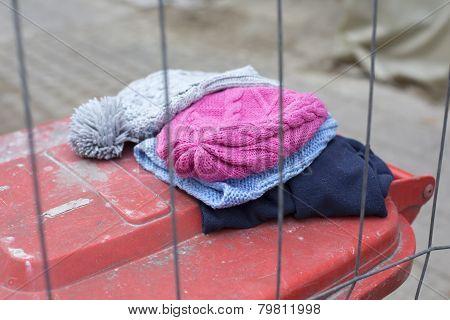 Wool Hats On Trashcan