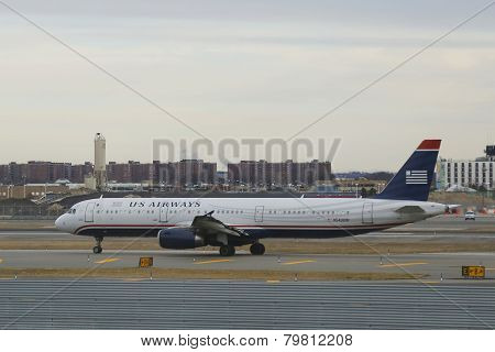 US Airways  Airbus A321 aircraft taxing at John F Kennedy International Airport