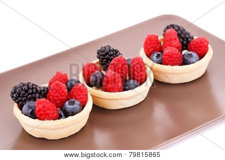 Fresh Ripe Berries In Tartlets