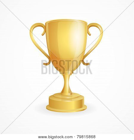 Vector golden winner cup on white