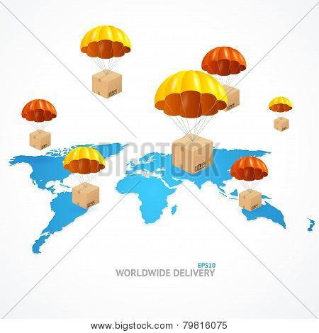 Vector concept of shipping around the world