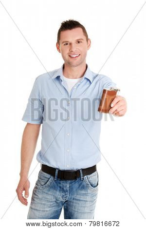 Young confident man with hip flask