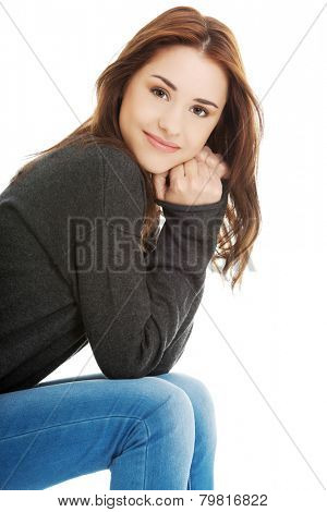 Young casual woman style. Studio portrait.