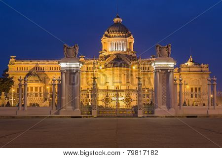 The Ananta Samakhom throne hall at twilight in thailand