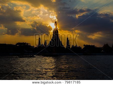 Silhouette of Arun temple Dawn, the historic landmark