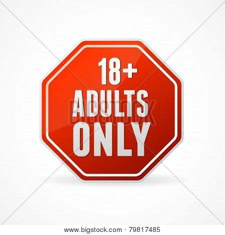 Vector Round Icon of 18 sign on white