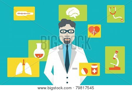 Vector Illustration Male Doctor And Medical Service. Flat Style Design