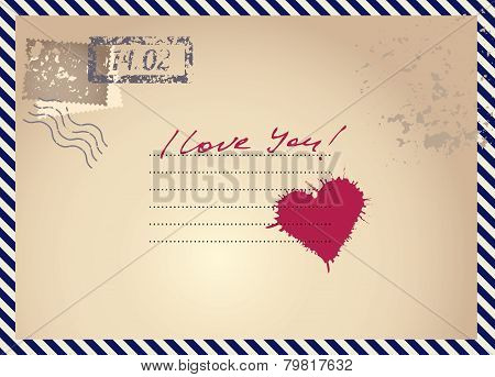 imitation postcar with heart