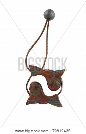 Zodiac Sign Pisces In The Form Of A Wooden Charms On A Leather Strap.
