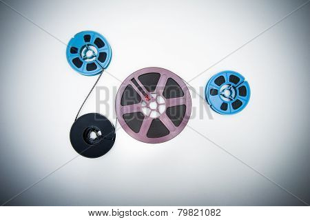 8Mm Different Reels Connected With Film