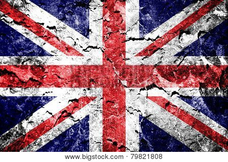 Union jack flag on grunge wall.