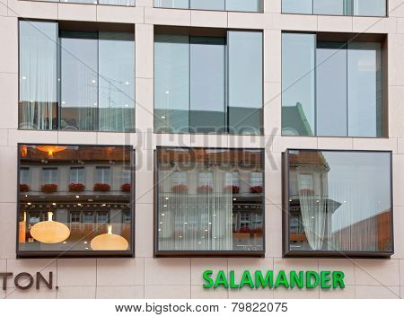 Munich, Germany - June 26, 2009: Storefront Salamander. Old Building Architecture Reflected In Moder