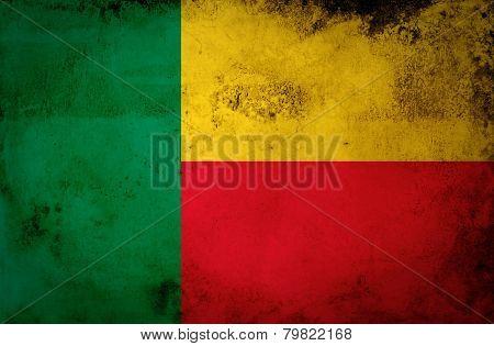 Benin flag on vintage paper