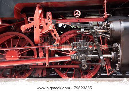 Wheels of a steam locomotive