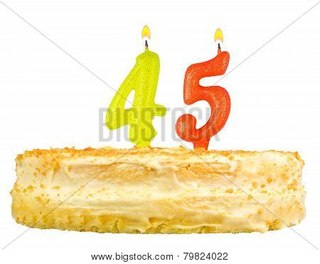 Birthday Cake With Candles Number Forty Five