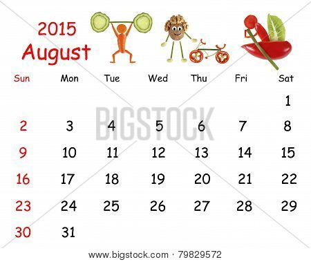 2015 Calendar. August. Little Funny People From Vegetables And Fruits.