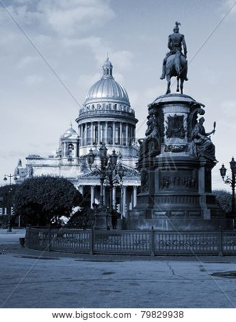 Saint Isaac Cathedral And Monument To Emperor Nicholas I In St Petersburg