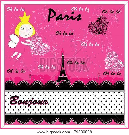 Eiffel, Paris in vintage style poster, vector illustration