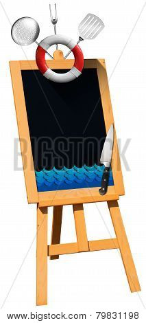 Seafood - Blackboard On Easel