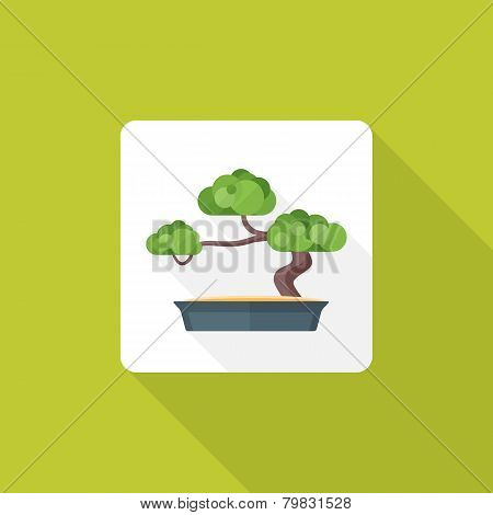 flat style bonsai icon with shadow