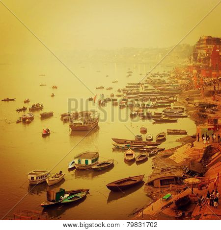 Small Boats At Ganga River - Vintage Effect.