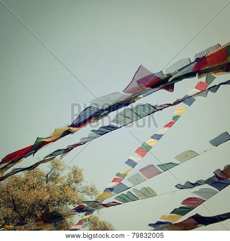 Colorful Praying Flags - Vintage Filter.